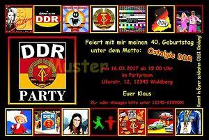 Das Bild Wird Geladen 20 Einladungskarten Geburtstag Einladungen Mottoparty  DDR Ostalgie Osten