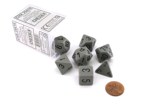 Polyhedral 7-Die Opaque Chessex Dice Set Dark Gray with Black Numbers