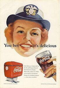 Details about Vintage 1952 Antique Original Coca-Cola Ad Airplane  Stewardess Pretty Lady Coke