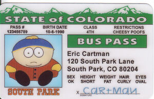 Cartman-of-SOUTH-PARK-novelty-plastic-collectors-card-Drivers-License
