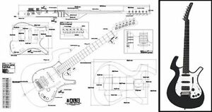 parker nitefly electric guitar plan ebay rh ebay com Guitar Wiring Diagrams 3 Pickups HSH Guitar Wiring Diagrams