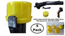 5x Blitz Yellow Spout Cap Fits Self Venting Gas Can Spouts 900302 900092 900094