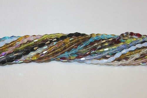 Strands 8 x 4-Bi-cone -16 Facets- Total Five About 250 Beads Glass Beads 5