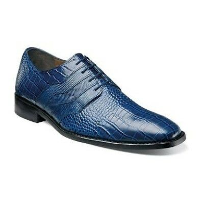 NEW STACY ADAMS GABINO MENS DRESS SHOES CROCODILE PRINT LEATHER 24873 Blue NEW
