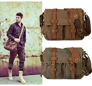 Mens-Vintage-Canvas-Leather-School-Military-Shoulder-Bag-Messenger-Bag