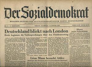 Belle Quotidien De La Social-démocrate Du 14.1.1947: Allemagne Regarde à Londres-afficher Le Titre D'origine