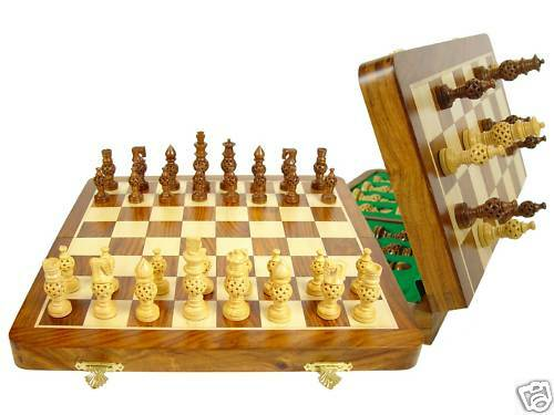 Wood Chess set - 14  Folding Chess board + Globe Design Magnetic Chess Pieces
