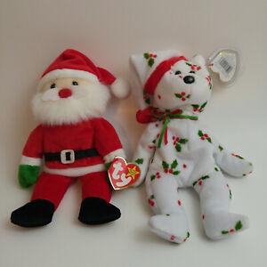 2 TY 1998 Christmas Beanie Babies Santa and Holiday Teddy Bear