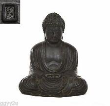 Old Japanese Bronze Seated Amida Buddha Marked 1674 Gram
