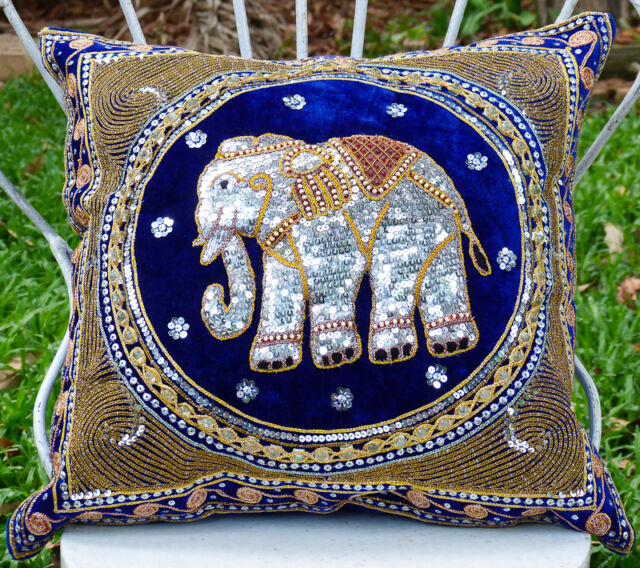 Pillow Cover Elephant Handmade Embroided Home Decoration : Blue & Sequin