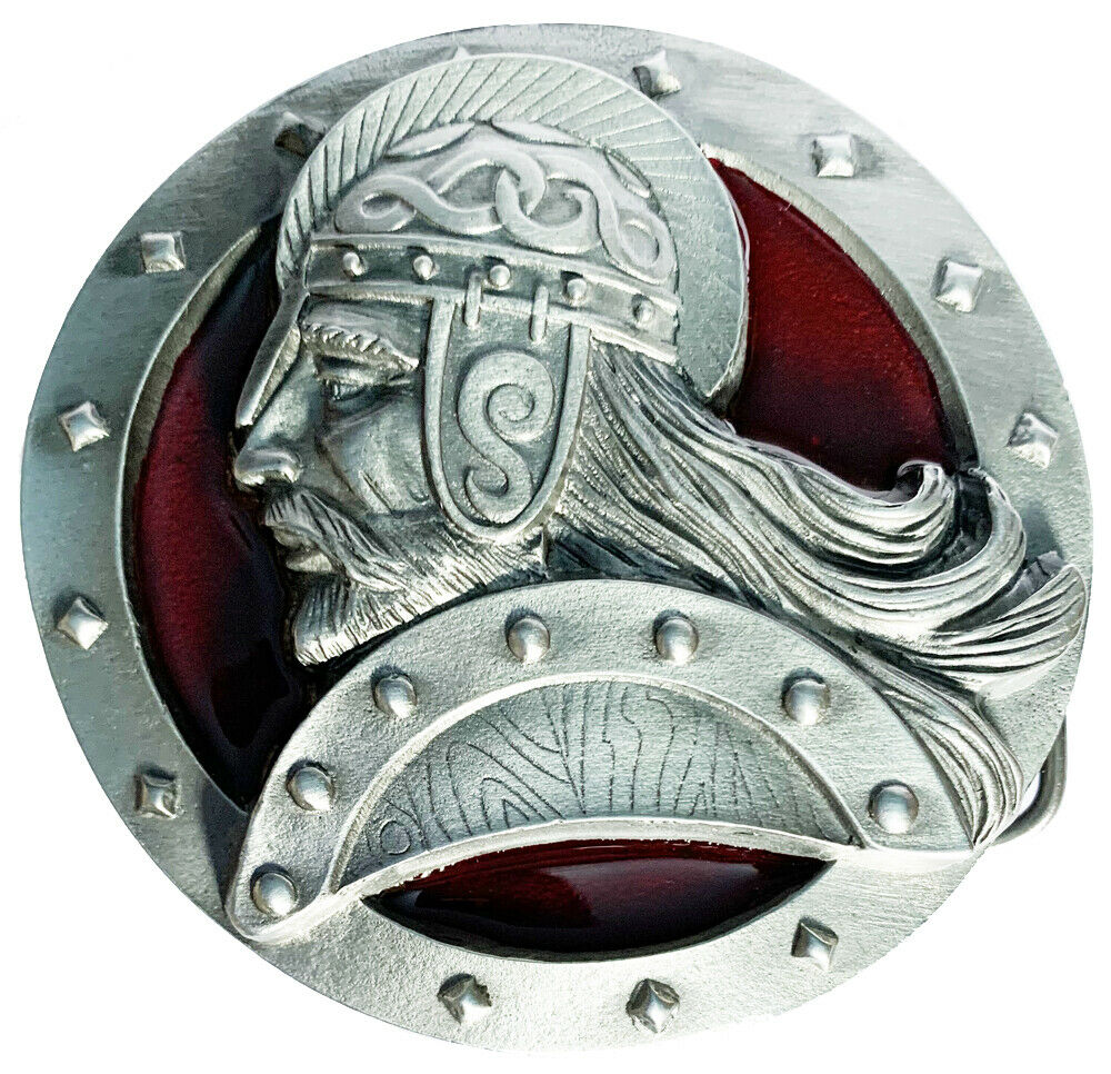 Belt Buckle VIKING WARRIOR HEAD Red Thor Norse by Dragon Designs