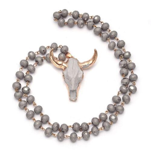 Gothic Bull Crâne Tête Longue Chaîne Collier Femmes Hommes Fashion Pierre naturelle Perles