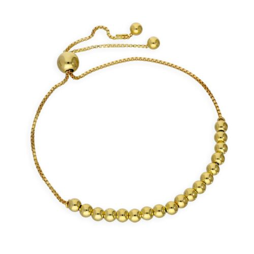 Real 925 Gold Plated Sterling Silver Adjustable Bead Bracelet Beads