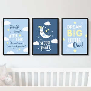 Blue Nursery Art Prints Pictures for Baby Boys Girls Bedroom Wall Art Decor