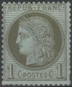 FRANCE-STAMP-TIMBRE-N-50-034-TYPE-CERES-1c-VERT-OLIVE-1872-034-NEUF-xx-A-VOIR