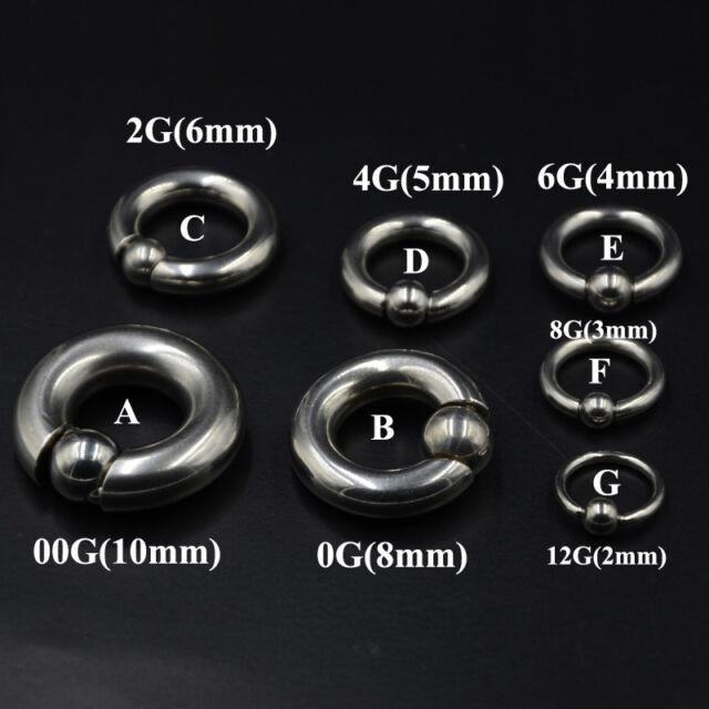 8G 10G STEEL BIG GAUGES CAPTIVE BEAD RING EAR HOOP GENITAL BODY PIERCING JEWELRY
