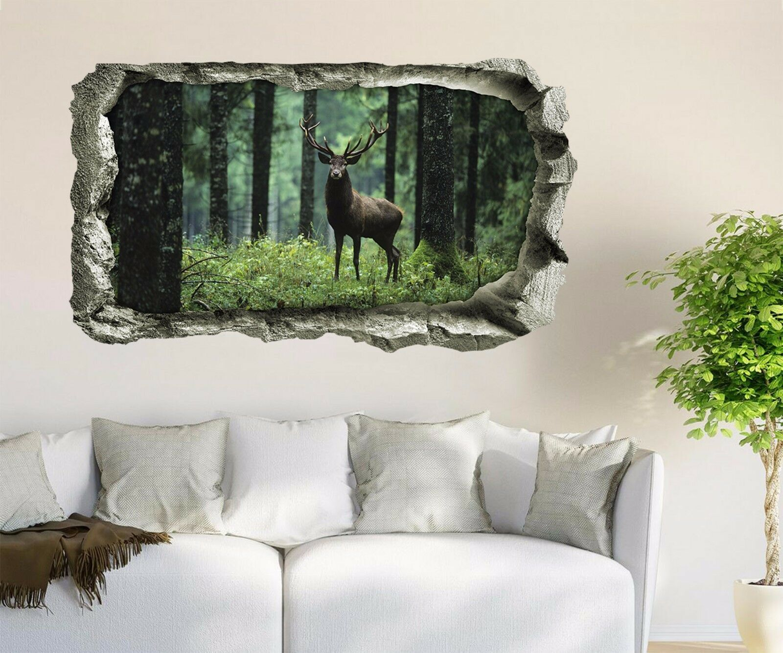 3D Cervi Di Foresta 136 Parete Murales Adesivi Decal Sfondamento AJ WALLPAPER IT