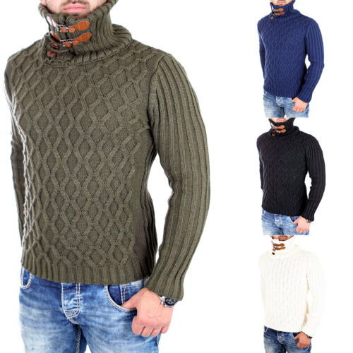 Tazzio Pullover A Maglia Uomo High Neck fibbie Inverno-Pullover tz-16489 NUOVO