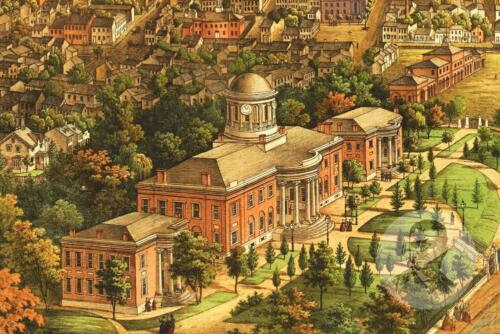 Historic Pennsylvania Art Victorian Industrial PA Map 1855 Vintage Harrisburg