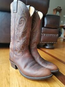0b50f32faed Details about Justin Western Cowboy Boots Mens Brown Leather Round Toe  Apache Bay 2253 Size 8D