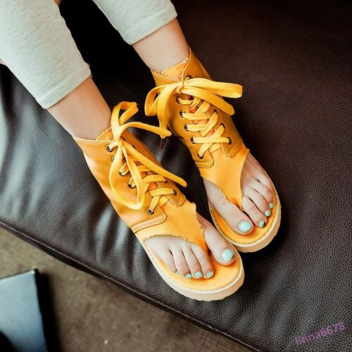 Fashion Women/'s Ankle Boots Sandals Lace Up Clip Toe Flats Casual Shoes Leather