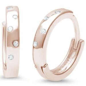 Genuine-Diamond-Huggie-Hoop-Earrings-in-14k-Rose-Gold-Solid-Sterling-Silver