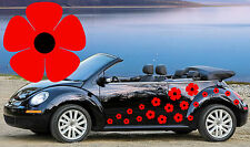 64 RED POPPY CAR DECALS,STICKERS,CAR GRAPHICS,FLOWER STICKERS