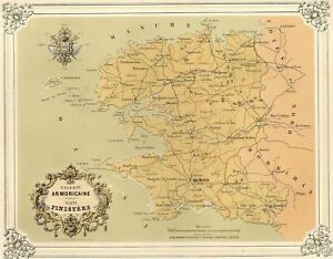 Bretagne-Galerie-Armoricaine-Carte-du-Finistere-Lithographie-originale-XIXe