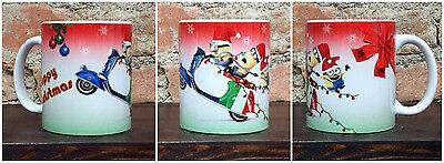Tazza Mug ceramica bianca Minions su Vespa  happy christmas   TZN004