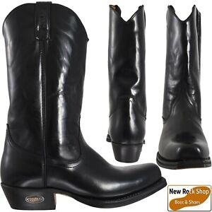 LOBLAN 000 HR Black Unisex Shiny Leather Western Cowboy Boots UK Size 7 - 12
