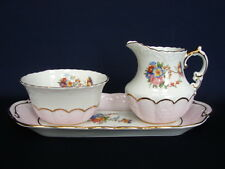 Aynsley China #1342 Sugar, Creamer & Tray Set Flowers w/Pink Border Gold Trim
