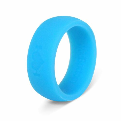 Glow in the Dark Blue Silicone Wedding Rings for Men, Band Perfect for Fitness