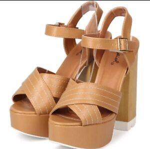 Qupid Shoes Wedges Platform NUDE TAN