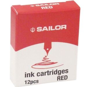 Sailor-Japan-Fountain-pen-Ink-Cartridge-12pcs-Gentle-13-0404-130-Red