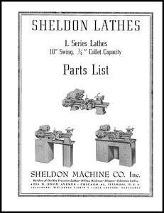 Sheldon 10 Inch L Series Lathe Parts Manual | eBay