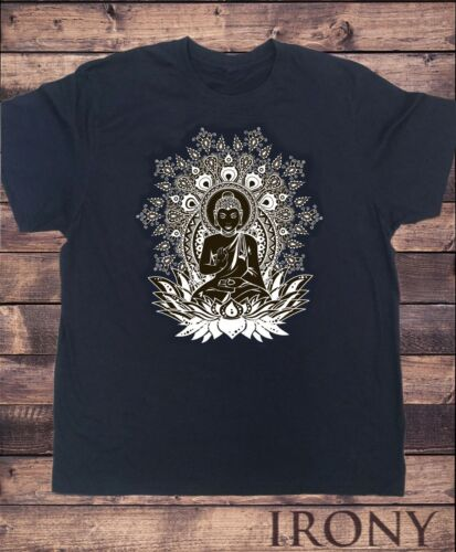 Mens Black Om Aum Yoga Buddha Chakra Meditation India Hobo Boho Peace T-shirt