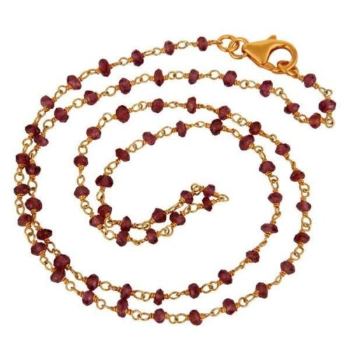 18K Gold Plated 925 Sterling Silver Garnet Gemstone Beads Necklace Jewelry