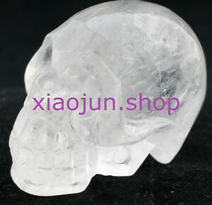 Natural Clear Crytal Carved Crystal Skull, Realistic, Gemstone Healing 2