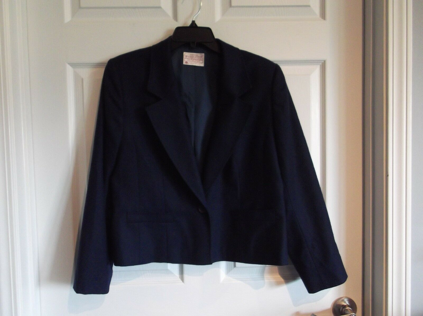 EUC Pendleton Petite womens 14 Long sleeve 1 button lined navy bluees Blazer -