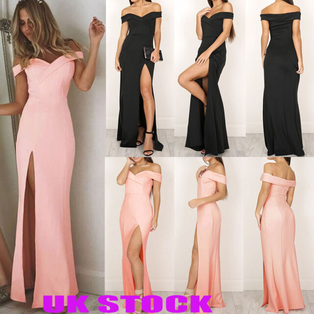 UK Womens Off Sholder Party Cocktail Long Dress Bridesmaid Ball Prom Gown Dress