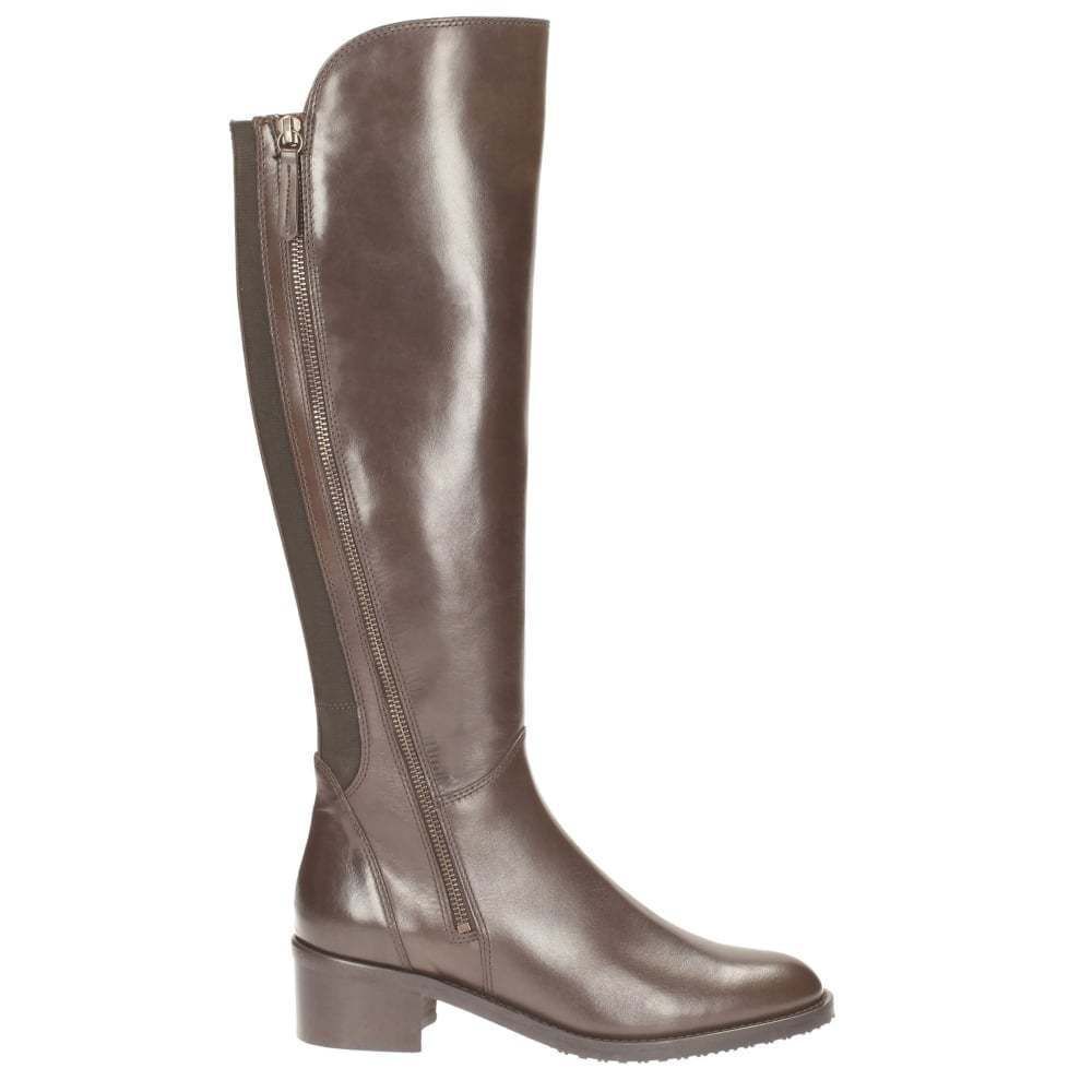 Clarks Dark brown leather Ladies riding knee boot 4 37 E wider fit New