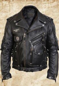 MEN-039-S-GENUINE-COW-LEATHER-MOTORCYCLE-BIKER-JACKET-BLACK-Size-S-TO-6XL