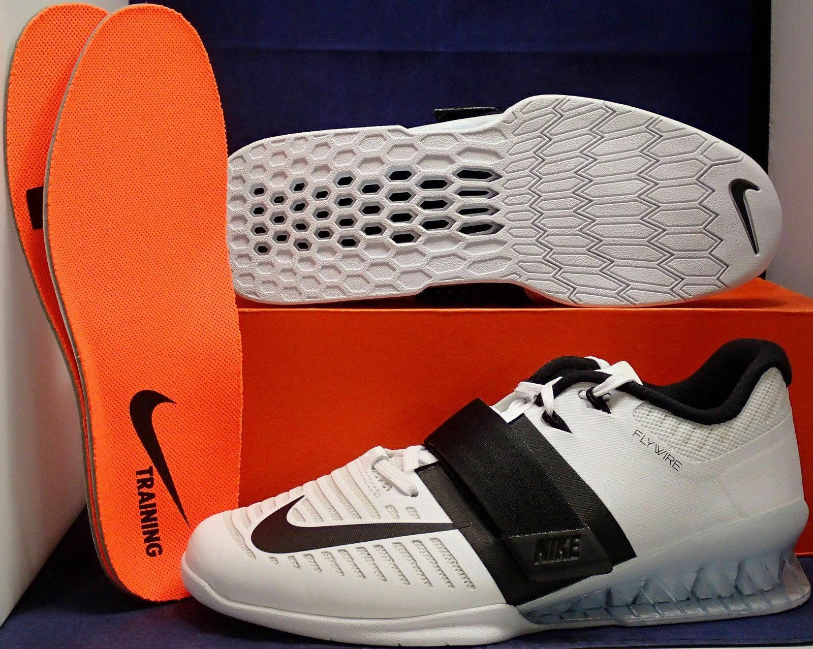 Nike Romaleos 3 Weightlifting Training shoes White Black (852933-101) Sz 12