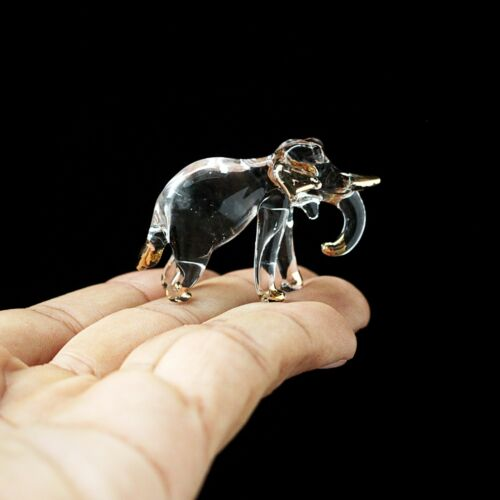 New Elephant Hand Blown Glass Figurine Collectibles Gold Trim Decor Gift Charm#
