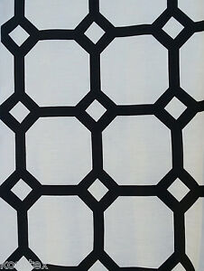 Linen Fabric By the Yard Black Geometric Print Upholstery Home
