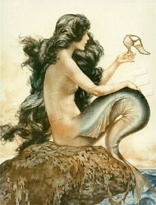 French Fantasy MERMAID w. Shoe CANVAS Art Deco Giclee Art Print - LARGE 19 x 13
