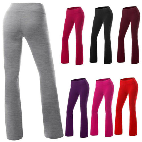 Womens Yoga Pants Bootcut Run Gym Jogger Leggings Flare Trousers Wide Leg Layu