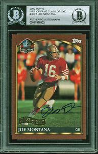 49ers Joe Montana  Signed 2000 Topps Hall Of Fame Class #HOF1 Card BAS Slabbed