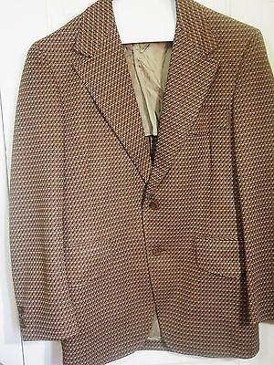 Mens Mod Vintage Loud Wild Plaid Sportcoat Blazer Wide Lapels 44 Polyester 70s