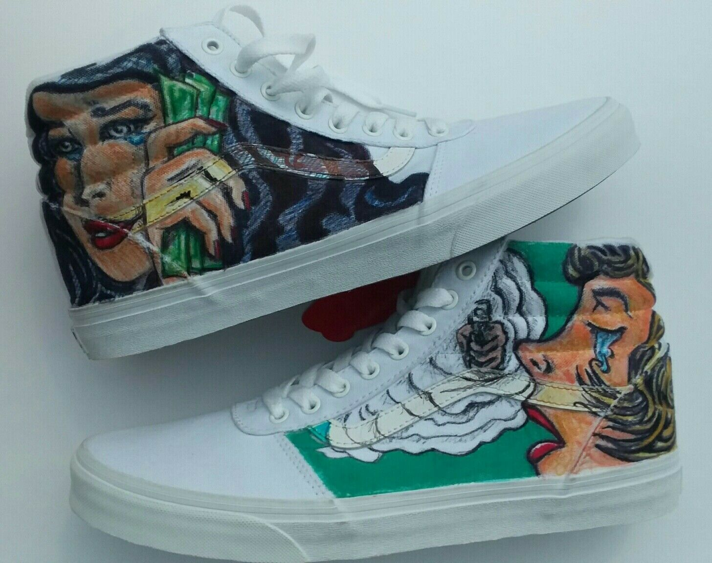 Custom Vans Ward HI Men's Fabolous Summertime Shootout Canvas High Top Shoes11.5